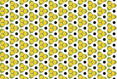 Seamless geometric pattern design illustration. In green, yellow, black and white colors.