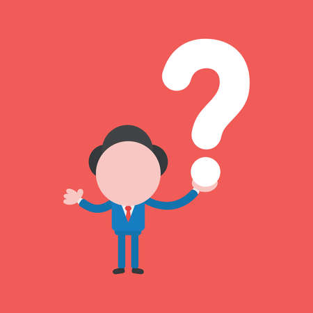 Vector illustration faceless businessman character holding question mark on red color background. 向量圖像