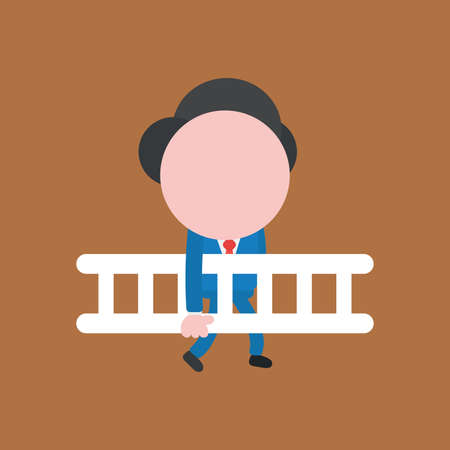 Vector illustration faceless businessman character holding wooden ladder and walking on brown color background.