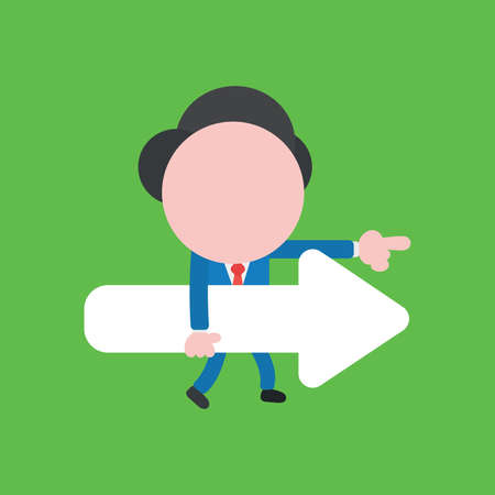Vector illustration faceless businessman character holding arrow, walking and pointing on green color background.