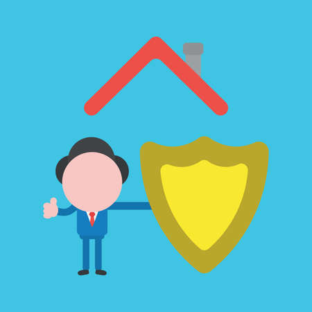 Vector illustration faceless businessman character with guard shield under house roof on blue color background. 向量圖像