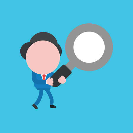 Vector illustration faceless businessman character holding magnifying glass and walking on blue color background.