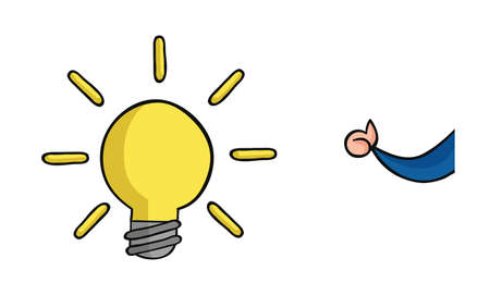 Hand drawn vector illustration of glowing light bulb and businessman showing thumbs up.