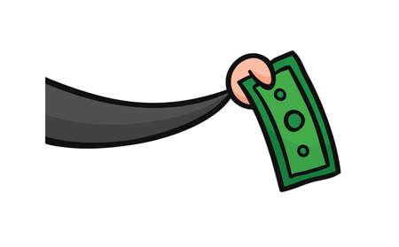 Hand drawn vector illustration of businessman holdimg paper money.  Иллюстрация