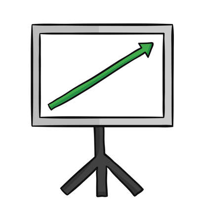 Hand drawn vector illustration of sales chart arrow moving up.  向量圖像