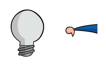 Hand drawn vector illustration of light bulb and businessman showing thumbs down.