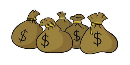 Hand drawn vector illustration of dollar money sacks.  向量圖像