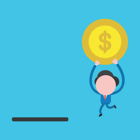 Vector cartoon illustration concept of faceless businessman mascot character running, holding up and carrying yellow dollar money coin symbol icon to black moneybox hole.