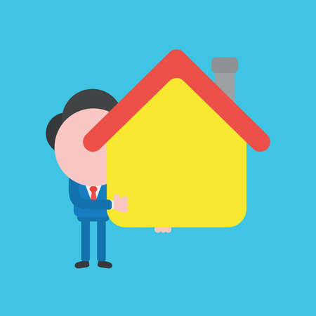 Vector cartoon illustration concept of faceless businessman mascot character holding yellow house symbol icon.