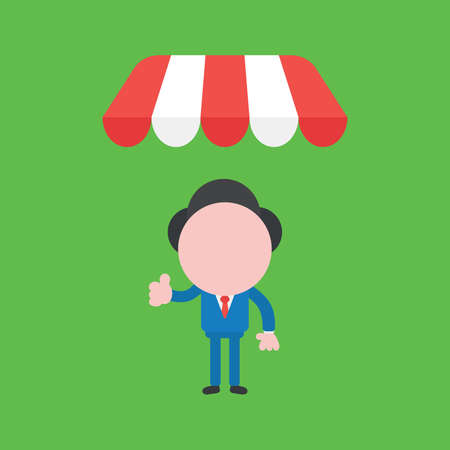 Vector cartoon illustration concept of faceless businessman mascot character giving thumbs up under shop awning on green background.