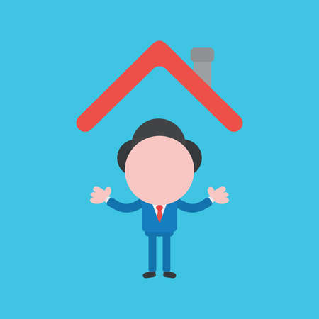 Vector cartoon illustration concept of faceless businessman mascot character under house roof on blue background. Ilustração