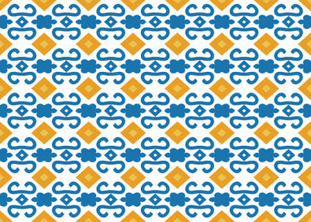 Seamless geometric pattern design illustration. Background texture. In yellow, blue and white colors.