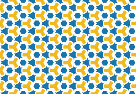 Seamless geometric pattern design illustration. Background texture. In blue, yellow and white colors. Stok Fotoğraf