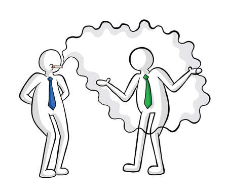 Businessman smokes and his colleague is disturbed vector illustration. Black outlines and colored, white background.