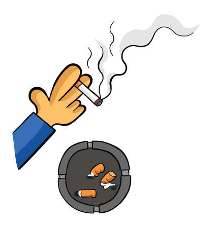 Man smoking cigarette with ashtray and cigarette butts vector illustration. Black outlines and colored, white background.