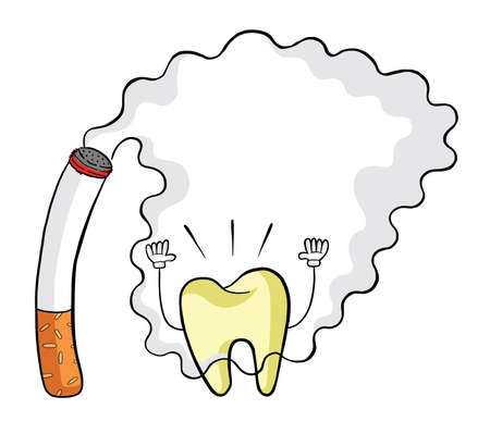 Cigarettes, smoke and yellowed teeth vector illustration. Black outlines and colored, white background.