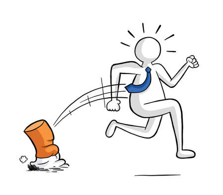 Businessman extinguishes smoking and running away vector illustration. Black outlines and colored, white background. Çizim