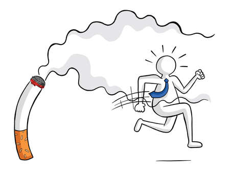 Businessman escaping from cigarette and smoke vector illustration. Black outlines and colored, white background. Çizim