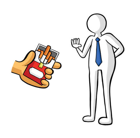 The man offers cigarettes and the businessman refuses vector illustration. Black outlines and colored, white background.