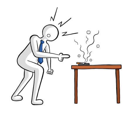 Businessman gets angry at the cigarette in the ashtray on the table vector illustration. Black outlines and colored, white background.
