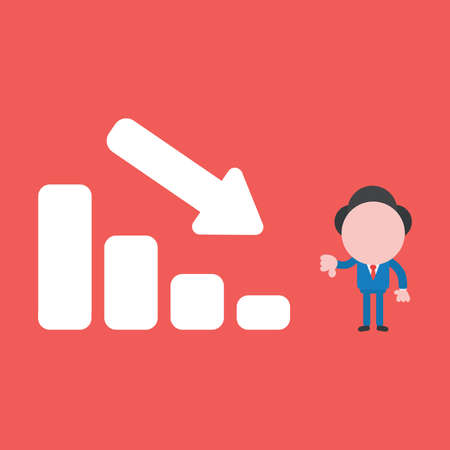 Vector cartoon illustration concept of faceless businessman mascot character giving thumbs down with sales bar graph moving down on red background.