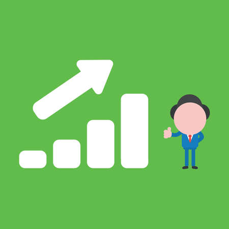 Vector cartoon illustration concept of faceless businessman mascot character giving thumbs up with sales bar graph moving up on green background.
