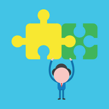 Vector cartoon illustration concept of faceless businessman mascot character holding up two connected puzzle pieces on blue background.