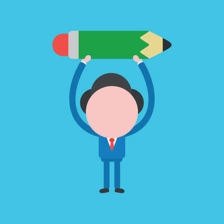 Vector cartoon illustration concept of faceless businessman mascot character holding up pencil on blue background.