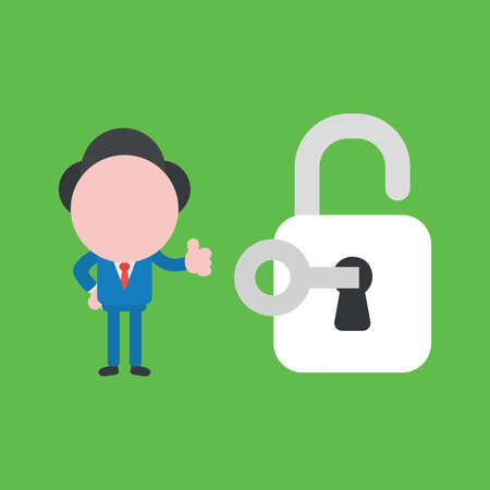 Vector cartoon illustration concept of faceless businessman mascot character unlock padlock with key and showing thumbs up on green background.