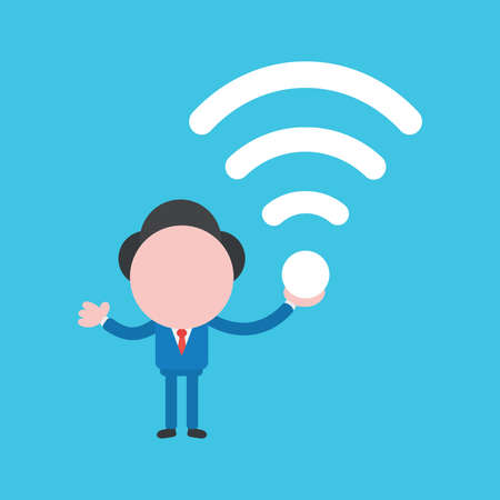 Vector cartoon illustration concept of faceless businessman mascot character holding wireless wifi symbols on blue background.