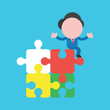 Vector cartoon illustration concept of faceless businessman mascot character sitting on four connected jigsaw puzzle pieces on blue background.