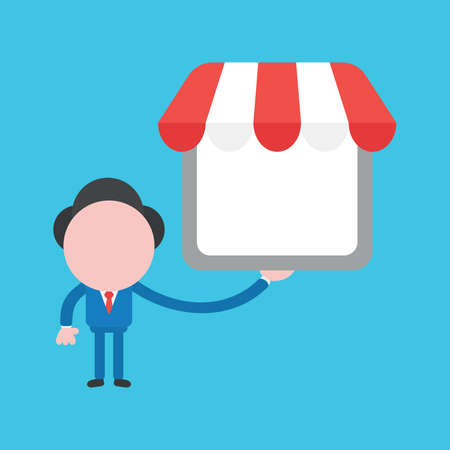 Vector cartoon illustration concept of faceless businessman mascot character holding shop store on blue background. Çizim
