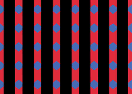 Seamless geometric pattern design illustration. Background texture. In black, red and blue colors.
