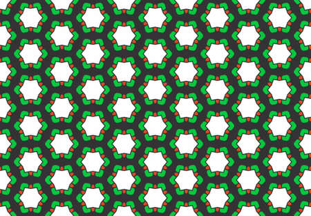 Seamless geometric pattern design illustration. Background texture. In green, red, black and white colors. Stok Fotoğraf