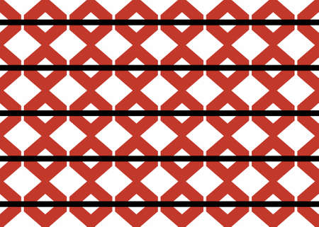 Seamless geometric pattern design illustration. Background texture. In red, black and white colors.
