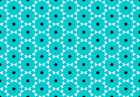 Seamless geometric pattern design illustration. Background texture. In blue, white and black colors. Stok Fotoğraf