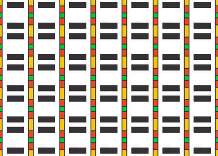 Seamless geometric pattern design illustration. Background texture. In black, red, yellow, green and white colors.