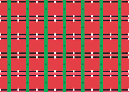 Seamless geometric pattern design illustration. Background texture. In red, green, black and white colors. Stok Fotoğraf