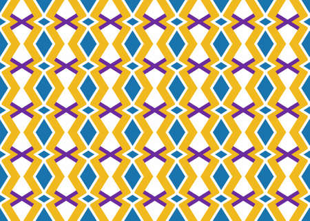Seamless geometric pattern design illustration. Background texture. In yellow, blue, purple and white colors.