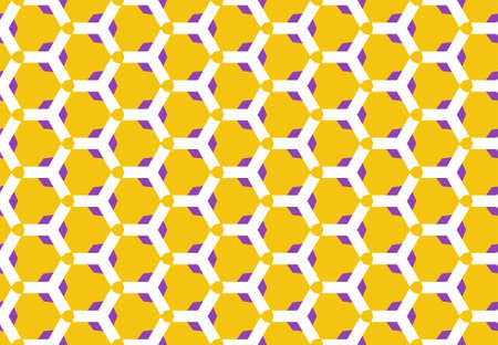 Seamless geometric pattern design illustration. Background texture. In yellow, purple and white colors. Stok Fotoğraf