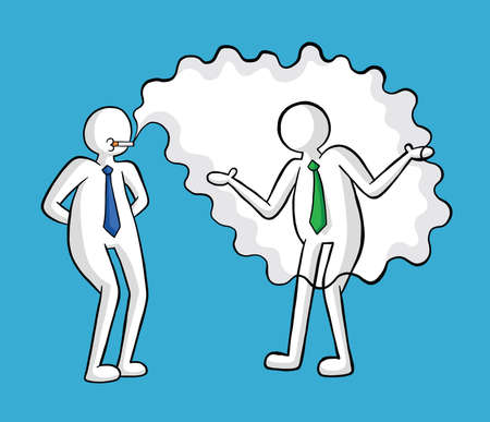 Businessman smokes and his colleague is disturbed vector illustration. Black outlines and colored, blue background. 矢量图像