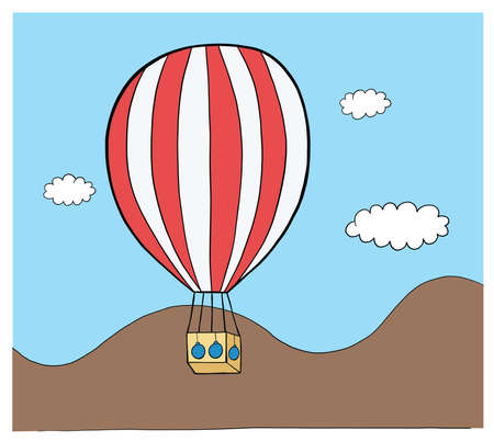 Vector hand drawn illustration of hot air balloon. Black outlines and colored.