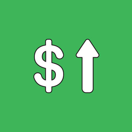 Vector illustration icon concept of dollar with arrow moving up. Black outlines, green background.