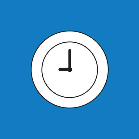Vector illustration icon concept of clock time. Black outlines, blue background.
