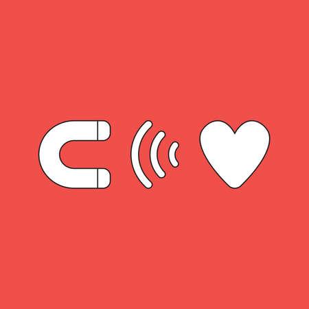 Vector illustration icon concept of magnet attracting heart. Black outlines, red background. Ilustración de vector