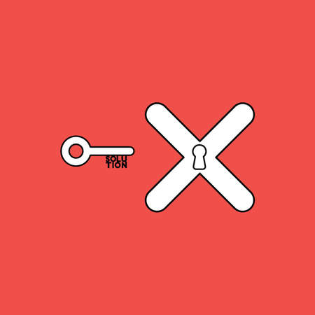 Vector illustration concept of key with solution text and x mark with keyhole. Black outlines, red background.