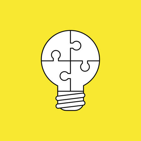 Vector illustration concept of lightbulb-shaped jigsaw puzzle pieces connected. Black outlines, yellow background.