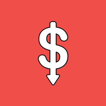 Vector illustration concept of dollar symbol with arrow pointing down. Black outlines, red background.