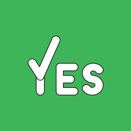 Vector illustration icon concept of yes word with check mark. Black outlines, green background.