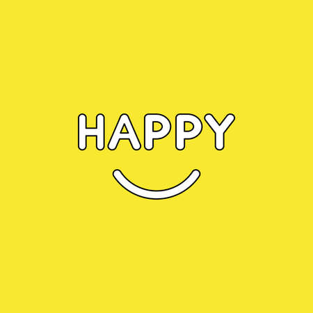 Vector illustration concept of happy text with smiling mouth. Black outlines, yellow background.
